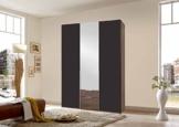 3-trg. Drehtürenschrank in Columbia-Nussbaum-Nachbildung mit abgesetzten Fronten in lavafarben, 1 Spiegeltür, Maße: B/H/T ca.135/208/58 cm -
