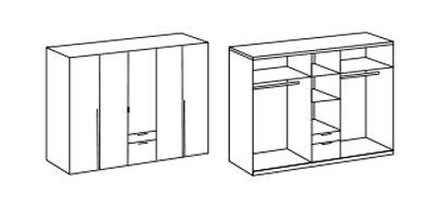 5-trg. Drehtürenschrank in Columbia-Nussbaum-Nachbildung mit 4 Einlegeböden, 2 Kleiderstangen und 2 Schubkästen, Maße: B/H/T ca. 225/208/58 cm -