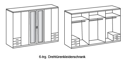 6-trg. Drehtürenschrank mit 6 Schubladen, 2 Spiegel mittig, Front alpinweiß, Korpus u. Schubkästen Columbia-Nussbaum-NB, Maße: B/H/T ca. 270/208/58 cm -