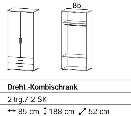 A6J63-3R01 Rasant 2trg. Eiche Sägerau Dekor Kleiderschrank Stauraumschrank Ju... -