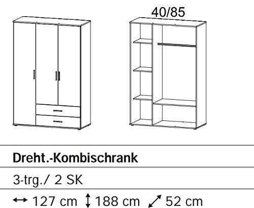 A6J63-3R02 Rasant 3trg. Eiche Sägerau Dekor Kleiderschrank Stauraumschrank Ju... -