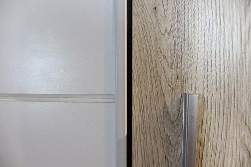 AVANTI TRENDSTORE - Schwebe/Drehtürenschrank in Eiche san remo/weiss Dekor, ca. 316x226x61cm -