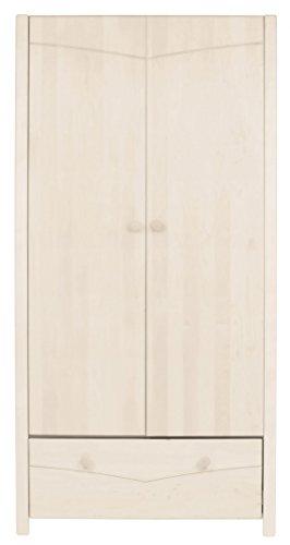 BioKinder 22205 Luca Schrank Kinder-Kleiderschrank aus Massivholz Kiefer weiß lasiert 165 x 80 x 60 cm -