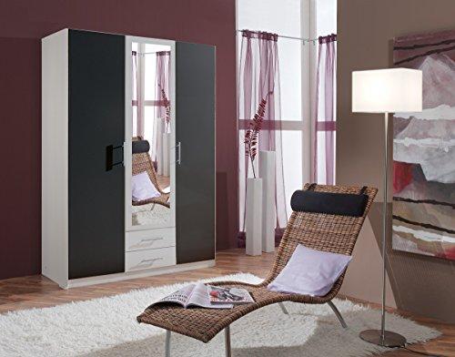 Dreams4Home Drehtürenschrank 'Bella', Schlafzimmer, Schrank, weiß, anthrazit, schwarz, Kleiderschrank, 1 Spiegel, Spiegelschrank -