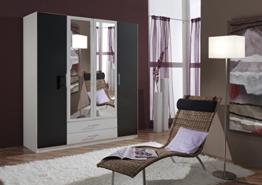 Dreams4Home Drehtürenschrank 'Isa XL, Schlafzimmer, Schrank, weiß, anthrazit, schwarz, Kleiderschrank, 2 Spiegel, Spiegelschrank -