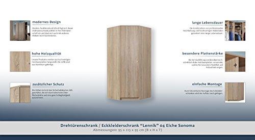 """Drehtürenschrank / Eckkleiderschrank """"Lennik"""" 04, Farbe: Eiche Sonoma - Abmessungen: 95 x 213 x 95 cm (B x H x T) -"""