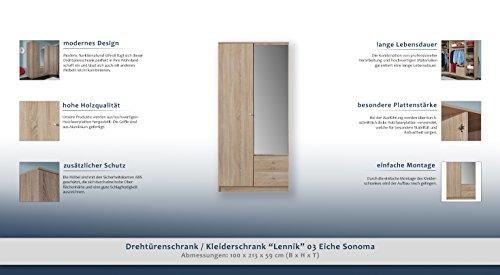 """Drehtürenschrank / Kleiderschrank """"Lennik"""" 03, Farbe: Eiche Sonoma - Abmessungen: 100 x 213 x 59 cm (B x H x T) -"""