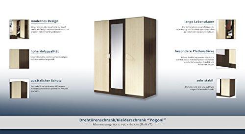 """Drehtürenschrank / Kleiderschrank """"Pogoni"""" - Abmessungen: 151 x 195 x 60 cm (B x H x T) -"""