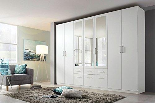 Drehtürenschrank, Kleiderschrank, Schlafzimmerschrank, Wäscheschrank, Schrank, 7-türig, alpinweiß, Schubladen, Spiegeltüren -