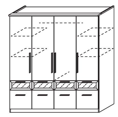 Drehtürenschrank rauch Drehtüren-Kombischrank Bochum buchefarben natur Dekor (Ausführung: 4-türig / 8 Schubladen) -