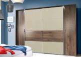 Drehtürenschrank, Schwebetürenschrank, Kleiderschrank, Schlafzimmereinrichtung, Schranksystem, Bettpolster, Columbia-Nussbaum, proseccofarben, beige -