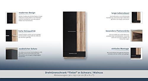 """Drehtürenschrank """"Tinlot"""" 01, Schwarz / Walnuss - Abmessungen: 90 x 193 x 50 cm (B x H x T) -"""