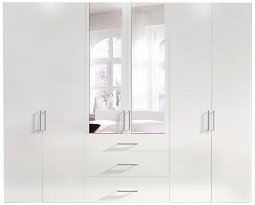 Express Möbel 14040-070 Drehtürenschrank, 6-türig, korpus und front polarweiß mit spiegel, drei schubkästen -
