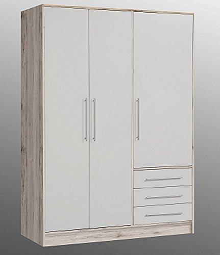 Forte JPTS84-T19F Jupiter Kleiderschrank Sandeiche/weiß 145 x 200 x 60 cm -