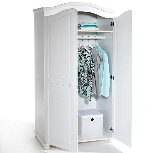 Garderobenschrank Dielenschrank Kleiderschrank DAVOS, Kiefer, 2-türig 2-Türen, weiß -
