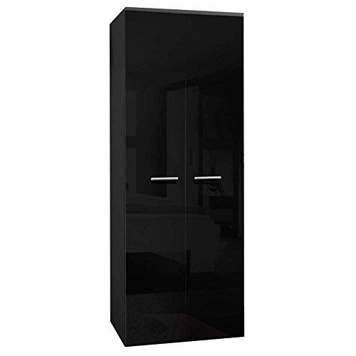 JUSThome 2D Drehtürenschrank Kleiderschrank Garderobenschrank (HxBxT): 190x70x55 cm Schwarz Matt / Schwarz Hochglanz -