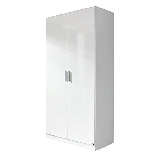 Kleiderschrank 2trg »CELLE« Hochglanz weiß 210cm -