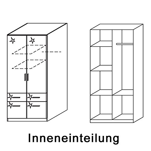 Kleiderschrank 2trg »CELLE« Hochglanz weiß mit Schrankaufsatz 249cm -
