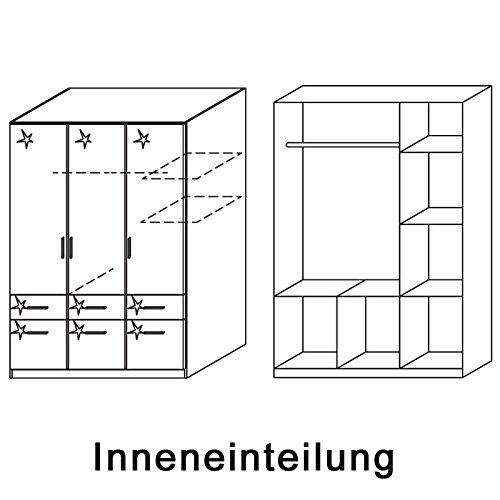 Kleiderschrank 3trg »CELLE« Hochglanz weiß mit Schrankaufsatz 236cm -