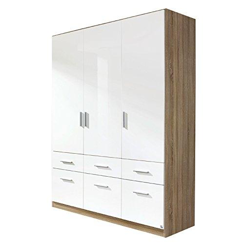 Kleiderschrank 3trg »CELLE« Sonoma Eiche - Hochglanz weiß 210cm -