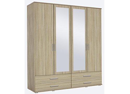 Kleiderschrank 4-türig eiche sonoma B.168cm mit Schubkästen und Spiegeltüren -