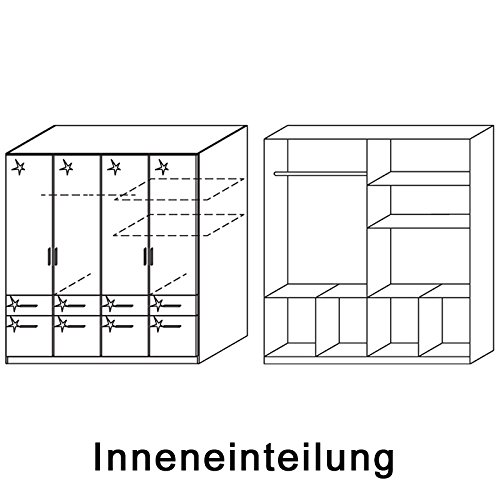 Kleiderschrank 4trg »CELLE« Hochglanz weiß 197cm -