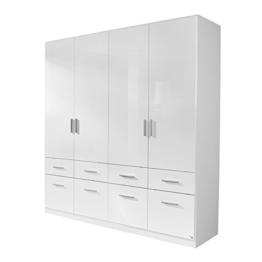 Kleiderschrank 4trg »CELLE« Hochglanz weiß 210cm -