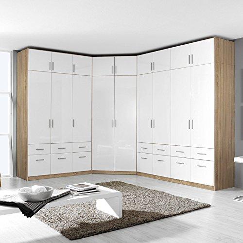 Kleiderschrank 4trg »CELLE« Sonoma Eiche - Hochglanz weiß 197cm -