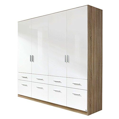 Kleiderschrank 4trg »CELLE« Sonoma Eiche - Hochglanz weiß 210cm -