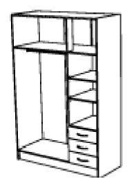Kleiderschrank B 135 cm nußbaum braun 6 Türen Schrank Drehtürenschrank Wäscheschrank Holzschrank Kinderzimmer Jugendzimmer Schlafzimmer -