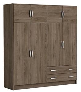 Kleiderschrank B 178 cm braun nußbaum 6 Türen Schrank Drehtürenschrank Wäscheschrank Holzschrank Kinderzimmer Jugendzimmer Schlafzimmer -