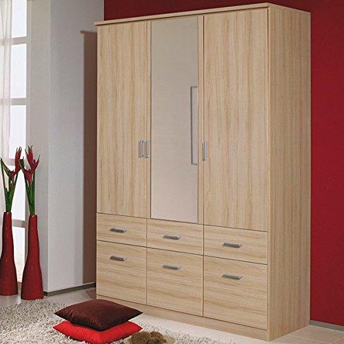 Kleiderschrank beige 3 Türen B 136 cm buche natur Schrank Drehtürenschrank Wäscheschrank Spiegelschrank Kinderzimmer Jugendzimmer Kinderzimmer -