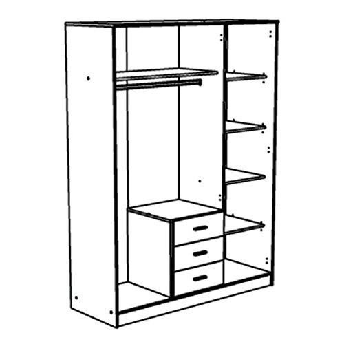 Kleiderschrank braun 3 Türen B 148 cm Spiegelschrank Drehtürenschrank Wäscheschrank Kinderzimmer Jugendzimmer Schrank Kinderzimmerschrank -
