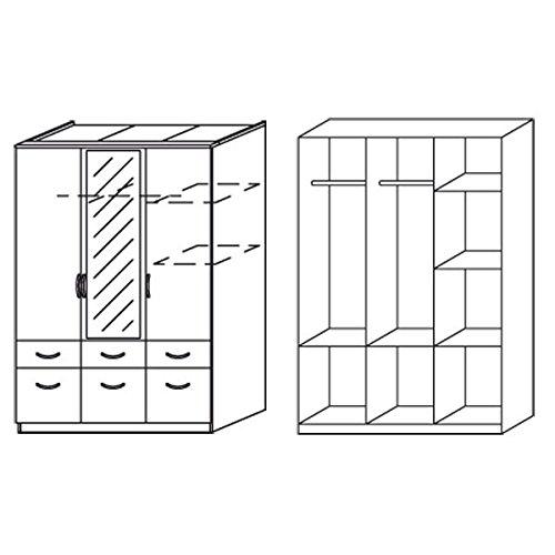 Kleiderschrank braun / weiß 3 Türen B 136 cm eiche havanna Schrank Drehtürenschrank Wäscheschrank Spiegelschrank Kinderzimmer Jugendzimmer -