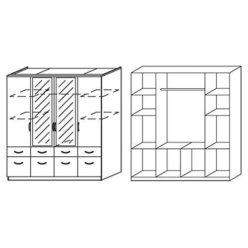 Kleiderschrank grau / weiß 4 Türen B 181 cm eiche sonoma Schrank Drehtürenschrank Wäscheschrank Kinderzimmer Jugendzimmer -