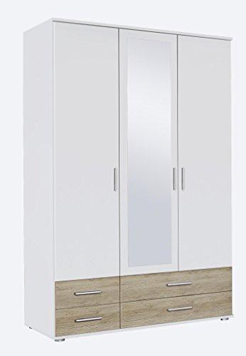 Kleiderschrank Rasant-Extra Alpinweiß / Eiche San Remo, mit Spiegel -