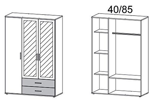 Kleiderschrank, Schlafzimmerschrank, Drehtürenschrank, Schranksystem, Spiegelschrank, B/H/T 127/188/52 cm -