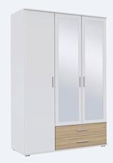 Kleiderschrank, Schlafzimmerschrank, Wäscheschrank, Drehtürenschrank, Kleiderschranksystem, Schranksystem, Spiegelschrank, Sonoma, Eiche, weiß -