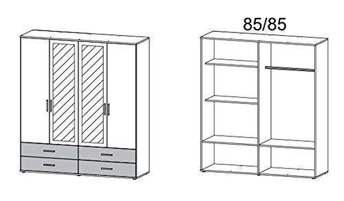 Kleiderschrank, Schlafzimmerschrank, Wäscheschrank, Drehtürenschrank, Kleiderschranksystem, Schranksystem, Spiegelschrank, weiß, Eiche, Sonoma -