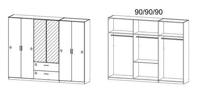 Kleiderschrank, Schlafzimmerschrank, Wäscheschrank, Drehtürenschrank, Schrank, 6-türig, Spiegeltüren, alpinweiß, Hochglanz weiß -