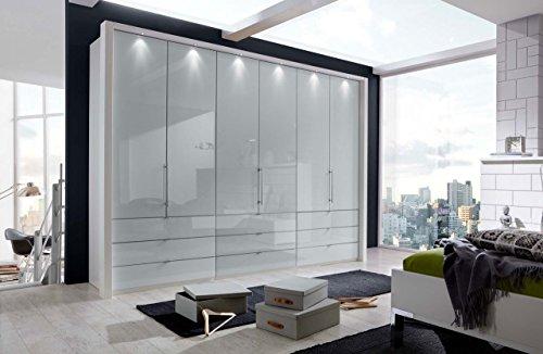 Kleiderschrank, Schlafzimmerschrank, Wäscheschrank, Drehtürenschrank, Schrank, 6-türig, alpinweiß, weiß, Glasfront -