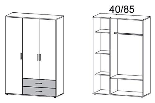 Kleiderschrank, Schlafzimmerschrank, Wäscheschrank, Schrank, Drehtürenschrank, Kleiderschranksystem, Schranksystem, weiß, alpinweiß, grau -