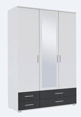 Kleiderschrank, Schlafzimmerschrank, Wäscheschrank, Schrank, Drehtürenschrank, Kleiderschranksystem, Schranksystem, Spiegelschrank, weiß, grau -