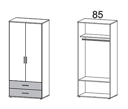 Kleiderschrank, Schlafzimmerschrank, Wäscheschrank, Schrank, Drehtürenschrank, Kleiderschranksystem, Schranksyste, Sonoma, Eiche, alpinweiß, weiß -