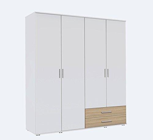 Kleiderschrank, Schlafzimmerschrank, Wäscheschrank, Schrank, Drehtürenschrank, Kleiderschranksystem, Schranksystem, weiß, alpinweiß, Sonoma, Eiche -