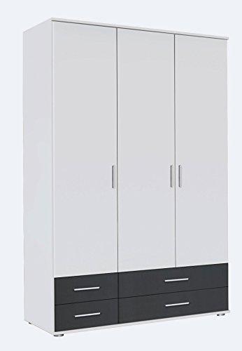 Kleiderschrank, Schlafzimmerschrank, Wäscheschrank, Schrank, Drehtürenschrank, Kleiderschranksystem, Schranksystem, alpinweiß, weiß, grau, Schublade -