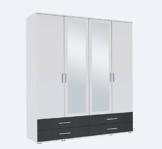 Kleiderschrank, Schlafzimmerschrank, Wäscheschrank, Schrank, Drehtürenschrank, Kleiderschranksystem, weiß, grau, B/H/T 168/188/52 cm -