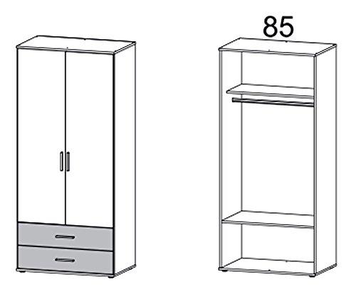 Kleiderschrank, Schlafzimmerschrank, Wäscheschrank, Schrank, Drehtürenschrank, Kleiderschranksystem, Schranksystem, alpinweiß, weiß, grau -