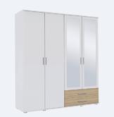 Kleiderschrank, Schlafzimmerschrank, Wäscheschrank, Spiegel, Drehtürenschrank, Kleiderschranksystem, Schranksystem, alpinweiß, weiß, Sonoma, Eiche -