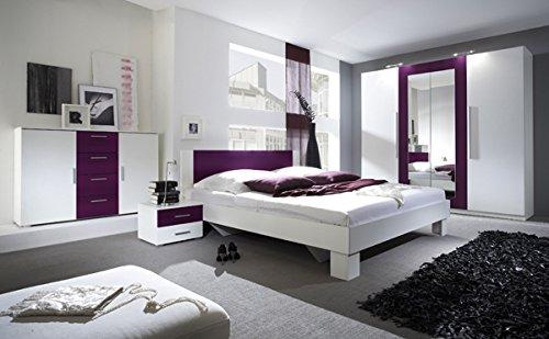 Kleiderschrank Schrank 54027 4-türig mit Spiegel weiß / nussbaum schwarz -